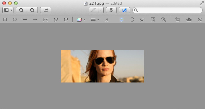 Mac OSX Preview - Jessica Chastain After Cropping