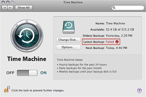 time machine failed