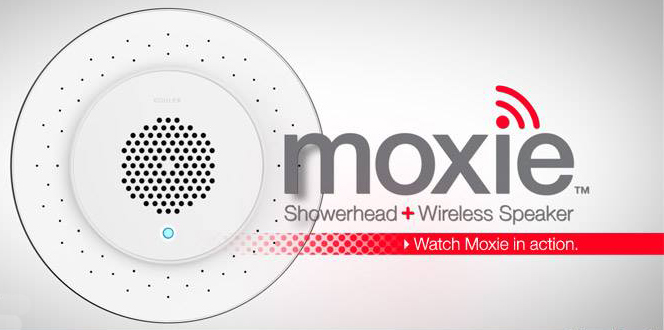 Moxie Showerhead & Speaker For iPhone or iPod Sound In The Shower