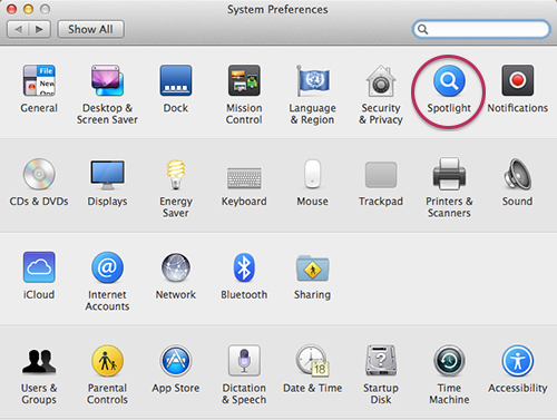 how to change spotlight search on imac