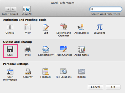 Microsoft Word For Mac - Output and Sharing - Save