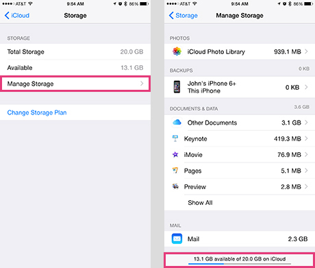 Icloud Storage Detail On The Iphone