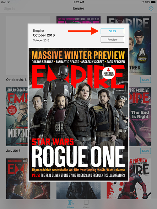 Empire Movie Magazine iPad Single Issue Rogue One