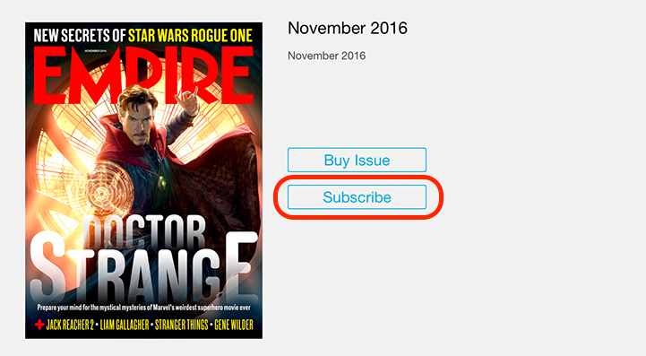 Empire Movie Magazine iPad Subscribe