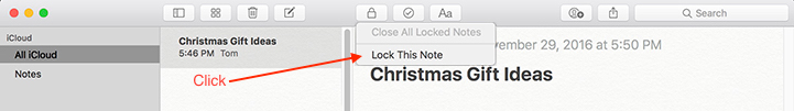 Apple Notes Lock option