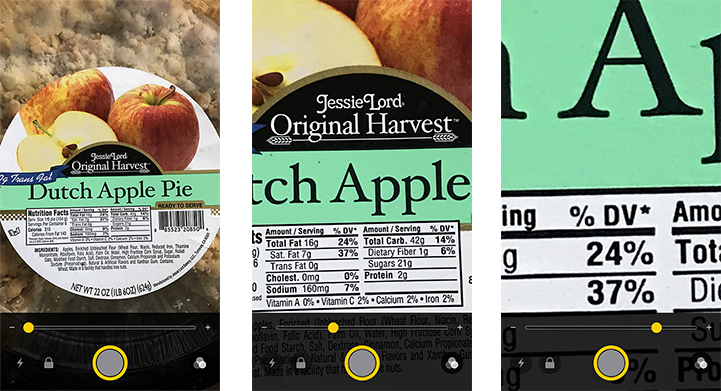 iOS 10 iPhone Pie magnification example