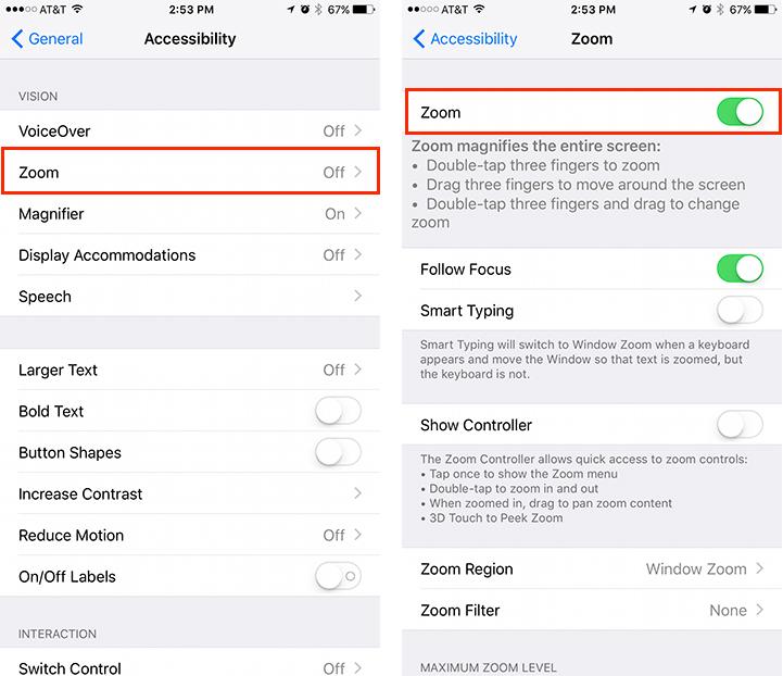iOS 10 iPhone Acessability Menu