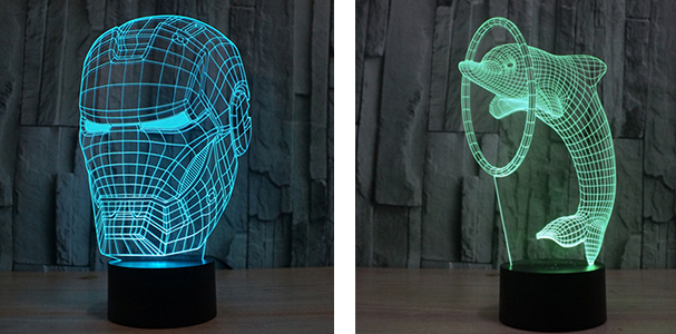 Gifts 2016 - 3D LED LIght - Ironman and Dolphin