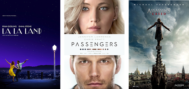 Gifts 2016 - movie Tickets to La La Land, Passengers or Assassin's Creed