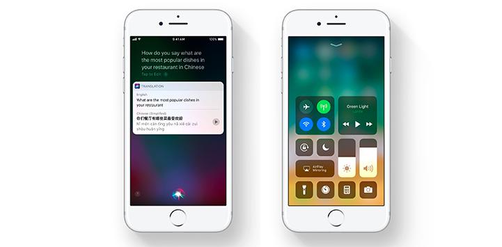 iOS 11 Siri Translation and new Control Panel