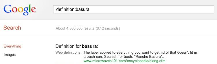 Google Word Definition