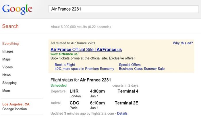 Google Flight Info