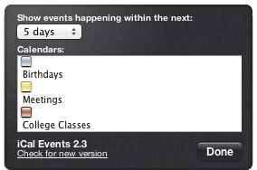 iCal Events Options