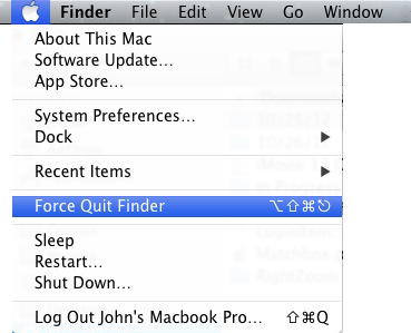 Apple Mac OSX - Force Quit Drop-down Menu