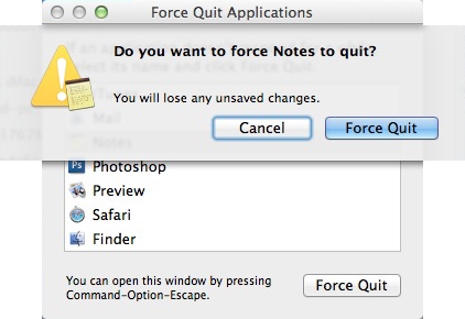 Apple Mac OSX - Force Quit Warning Window