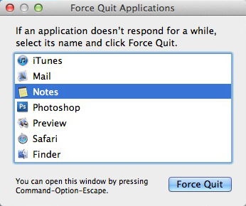 Apple Mac OSX - Force Quit Window
