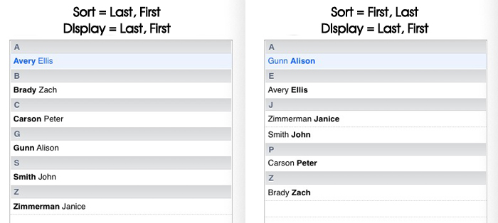 Apple Mac Contacts - Sort Order 1