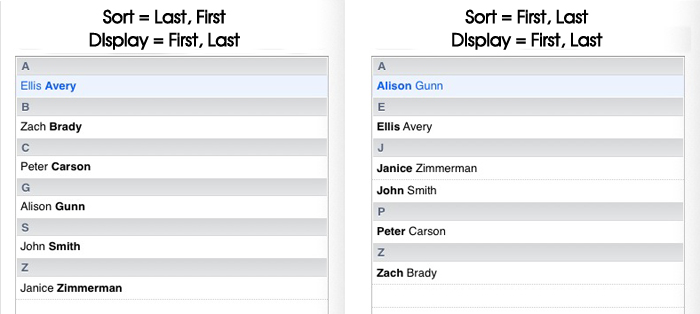 Apple Mac Contacts - Sort Order 2