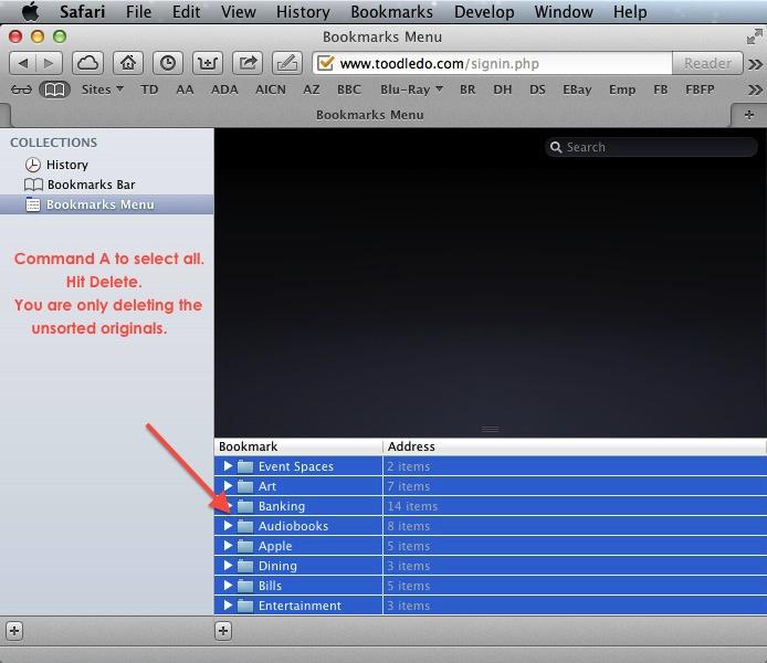 Apple Safari Bookmarks - Delete