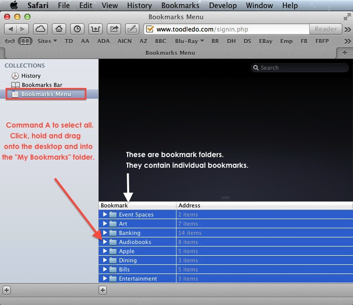 Apple Safari Bookmarks - Unsorted.