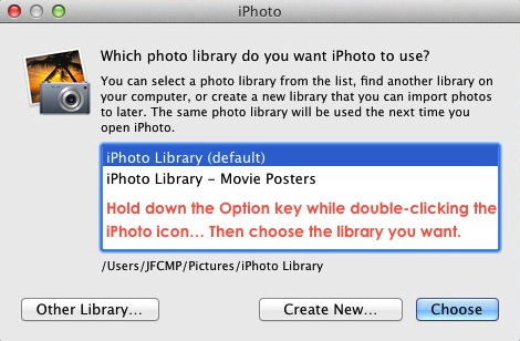 iPhoto Option To Switch Libraries.