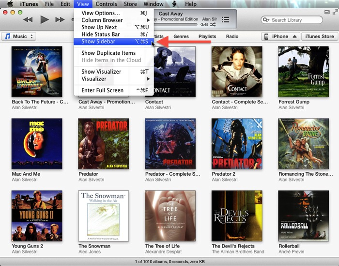 iTunes 11 View Menu