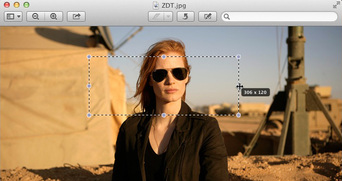 Mac OSX Preview - Jessica Chastain Before Cropping