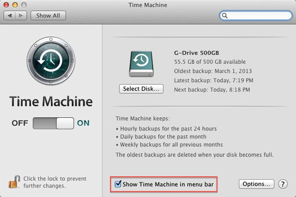 Apple Mac Time Machine - System Preferences