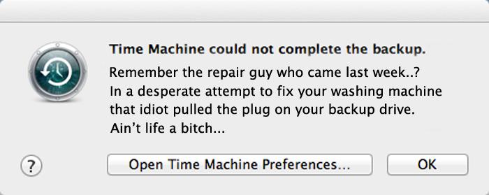 Apple Mac Time Machine Error