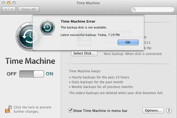 Apple Mac Time Machine - Error
