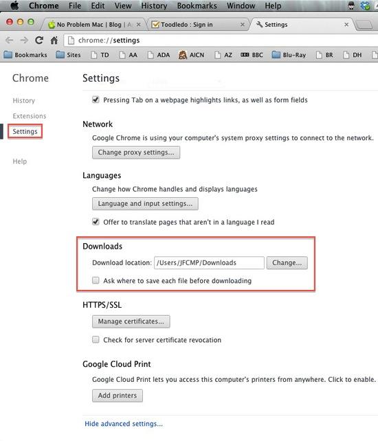 Google Chrome - Set Downloads