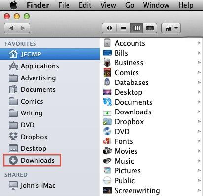 Mac OSX Finder - Downloads Folder