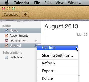 Mac OSX - Calendar - Get Info