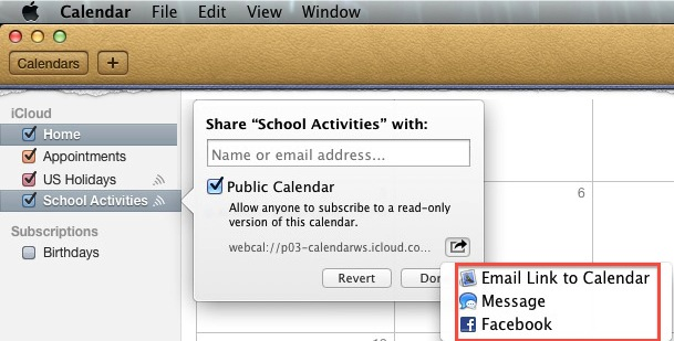 Mac OSX - Calendar - Share Public Calendar