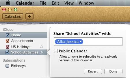 Mac OSX - Calendar - Share Calendar With Jessica