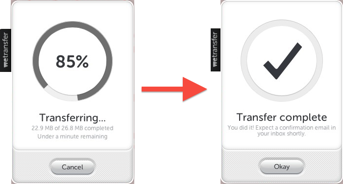 WeTransfer - Percentage Complete