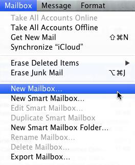 Apple Mail - Create New Mailbox