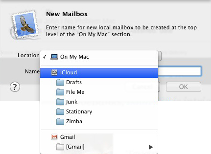 Apple Mail - New Mailbox - Location