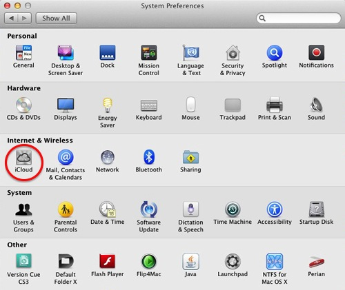 Apple Mac System Preferences - iCloud