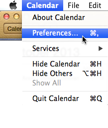 Apple Mac Calendar - Menu Bar - Preferences