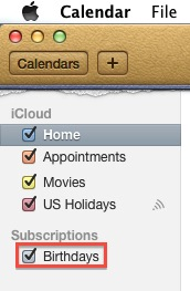 Apple Mac Calendar - Check Birthdays Calendar Is On