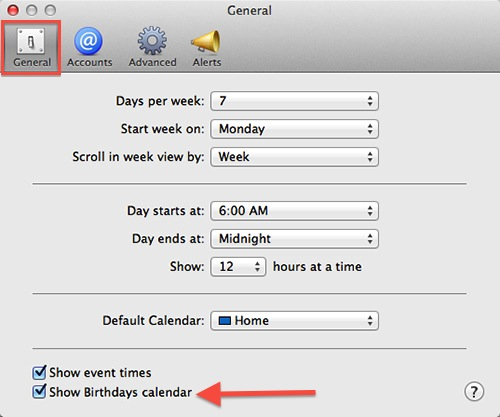 Apple Mac Calendar - Preferences