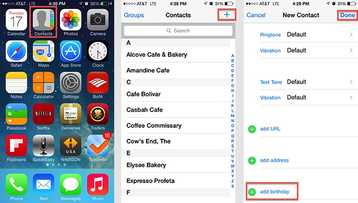 iPad and iPhone - Add Birthday To Contacts
