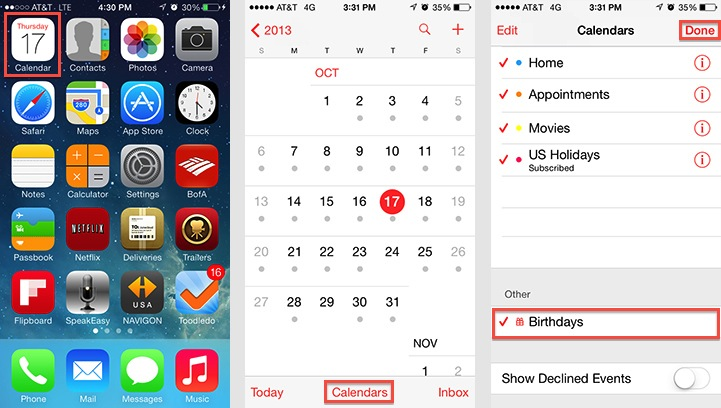 iPad and iPhone - Turn On Birthdays Calendar