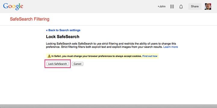 Google SafeSearch - Locking SafeSearch