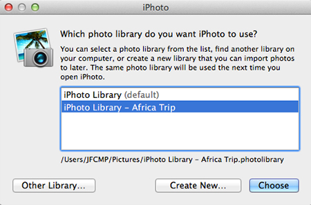 iPhoto 11 - Which iPhoto Library Do You Want To Use