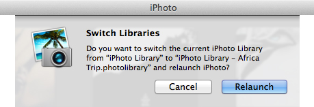 iPhoto 11 - Switch Libraries Relaunch Box