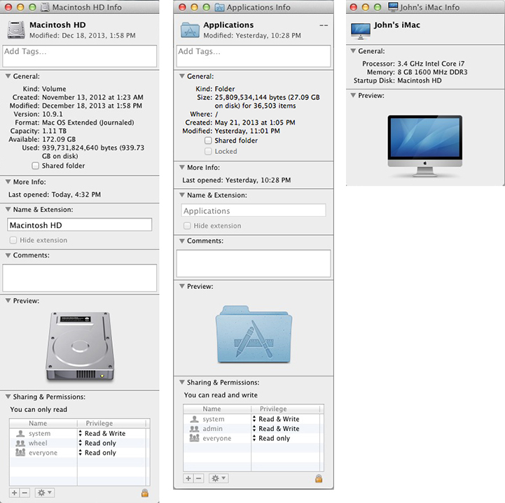 Apple Mac, Folder and Device - Get Information