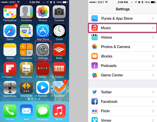 iPhone and iPad - Home Sharing Settings