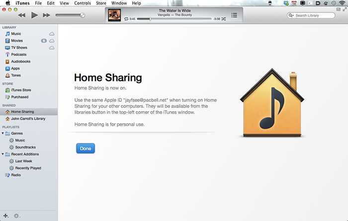 iTunes Home Sharing - Done